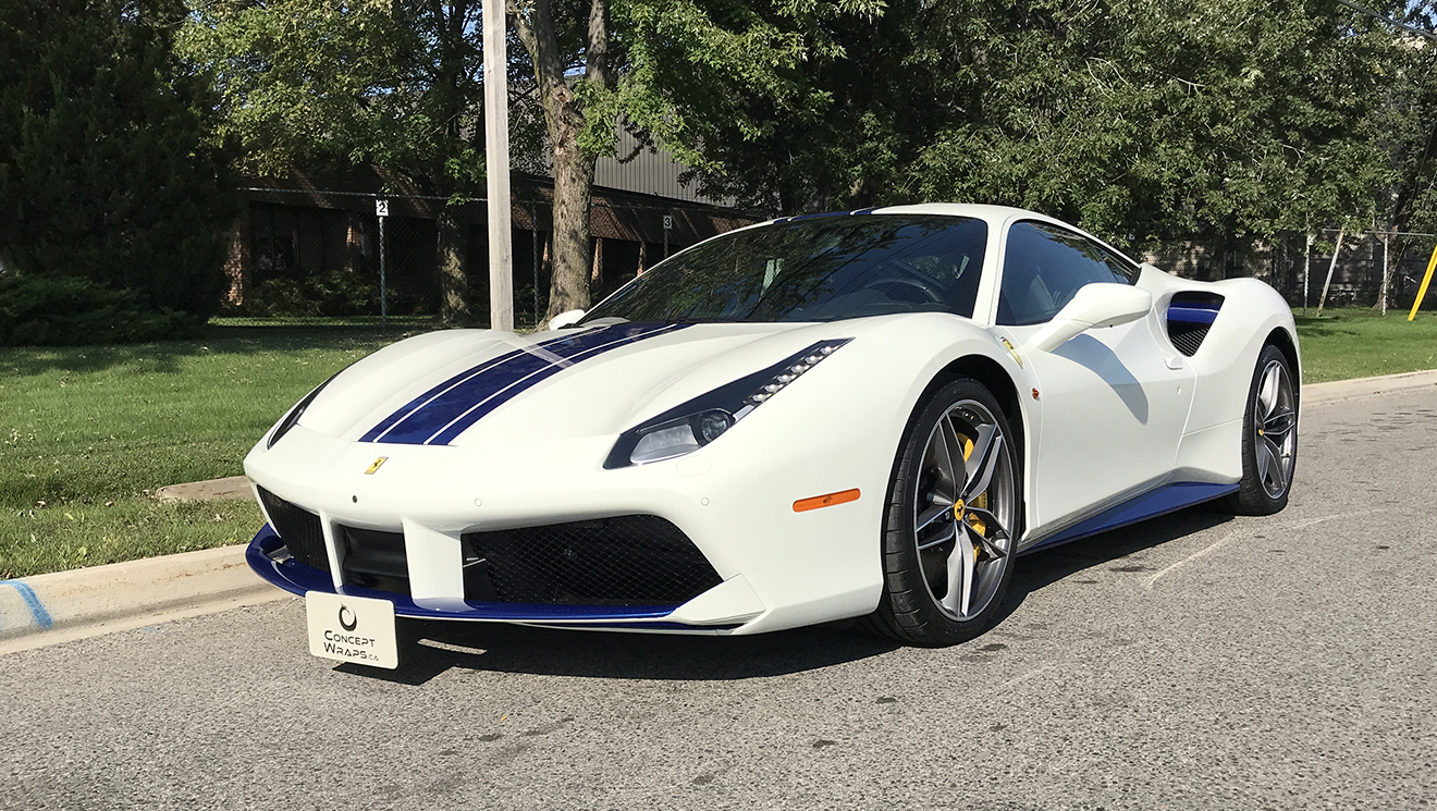 Ferrari 488 GTB Paint Protection, stripes and Ceramic Coating